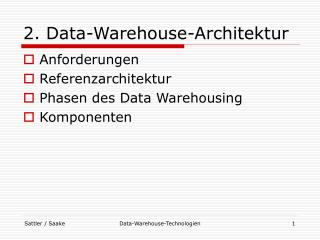 2. Data-Warehouse-Architektur
