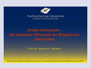 Direkte Demokratie - Die politische Ohnmacht der BürgerInnen überwinden