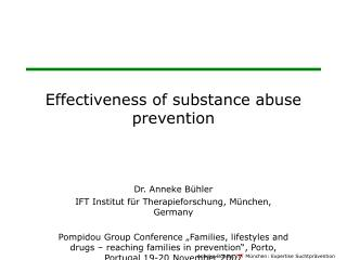 Effectiveness of substance abuse prevention