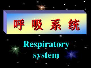 呼 吸 系 统