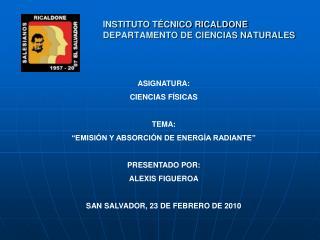 INSTITUTO TÉCNICO RICALDONE DEPARTAMENTO DE CIENCIAS NATURALES