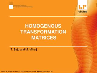 HOMOGENOUS TRANSFORMATION  MATRICES