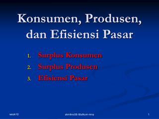 Konsumen, Produsen, dan Efisiensi Pasar