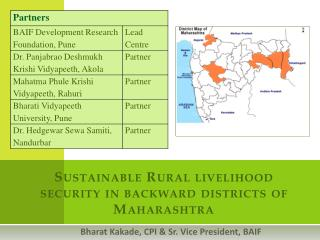 Sustainable Rural livelihood security in backward districts of Maharashtra