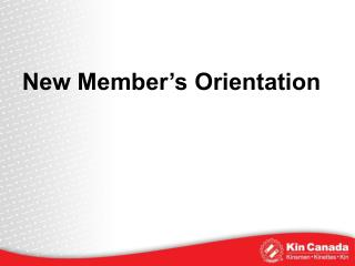 New Member's Orientation
