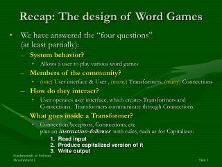 Recap: The design of Word Games