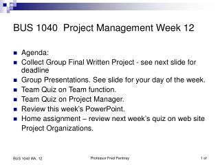 BUS 1040  Project Management Week 12