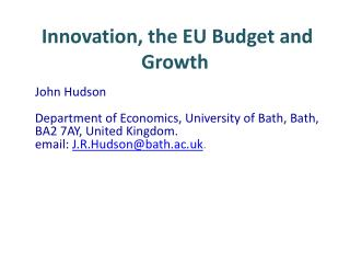 Innovation, the EU Budget and Growth