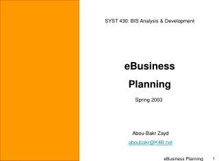 eBusiness  Planning