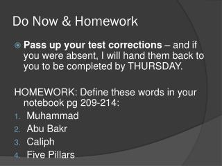 Do Now & Homework