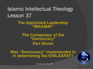 Islamic Intellectual Theology Lesson 37