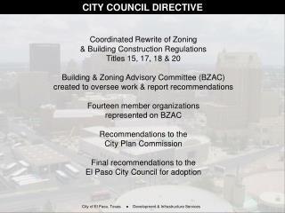 CITY COUNCIL DIRECTIVE