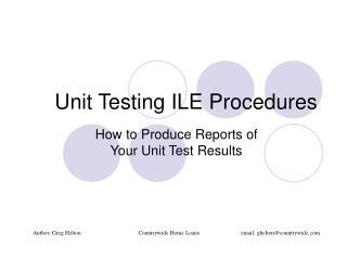 Unit Testing ILE Procedures