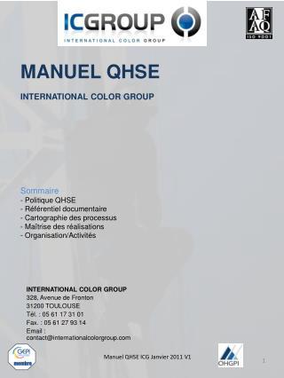 Sommaire - Politique QHSE - R f rentiel documentaire - Cartographie des processus - Ma trise des r alisations - Organisa