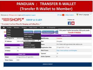 PANDUAN  :   TRANSFER R-WALLET (Transfer R-Wallet to Member)