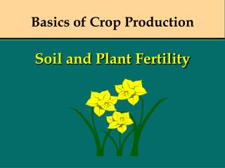 Basics of Crop Production