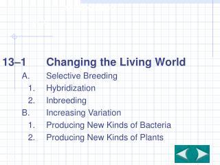 13–1Changing the Living World A.Selective Breeding 1.Hybridization 2.Inbreeding