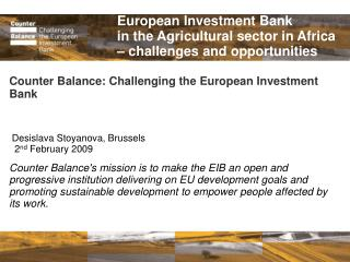 European Investment Bank in the Agricultural sector in Africa – challenges and opportunities