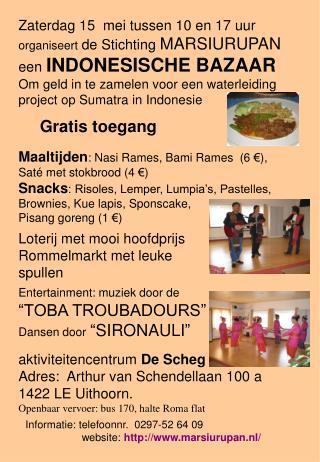 Informatie: telefoonnr.   0297-52 64 09                    website:  marsiurupan.nl/