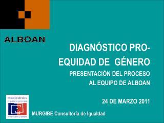 DIAGNÓSTICO PRO-EQUIDAD DE  GÉNERO PRESENTACIÓN DEL PROCESO AL EQUIPO DE ALBOAN 24 DE MARZO 2011