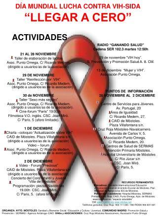 """DÍA MUNDIAL LUCHA CONTRA VIH-SIDA """"LLEGAR A CERO"""""""