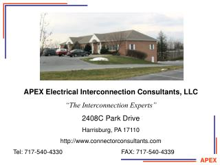 "APEX Electrical Interconnection Consultants, LLC ""The Interconnection Experts"" 2408C Park Drive"