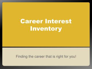 Career Interest Inventory