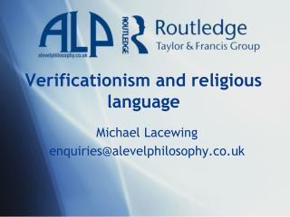 Verificationism  and religious language