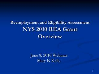 Reemployment and Eligibility Assessment  NYS 2010 REA Grant Overview