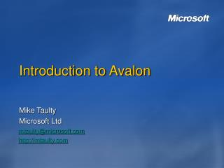 Introduction to Avalon
