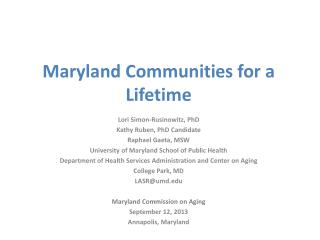 Maryland Communities for a Lifetime