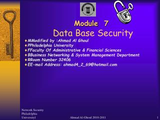 Module  7 Data Base Security