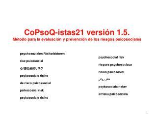 CoPsoQ-istas21 versión 1.5. Método para la evaluación y prevención de los riesgos psicosociales