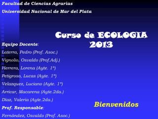 Curso de ECOLOGIA 2013