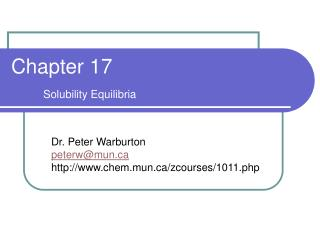 Chapter 17 Solubility Equilibria