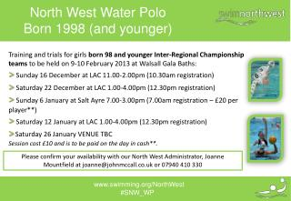 North West Water Polo Born  1998  (and younger)