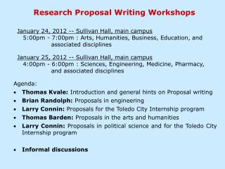 Research Proposal Writing Workshops