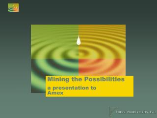 Mining the Possibilities a presentation to  Amex