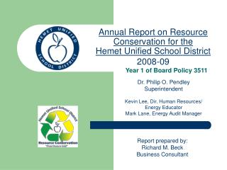 Annual Report on Resource Conservation for the  Hemet Unified School District 2008-09