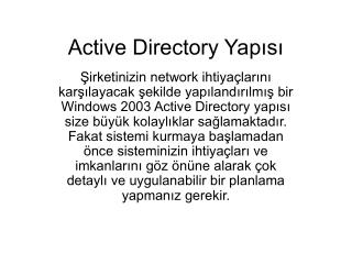 Active Directory Yapısı