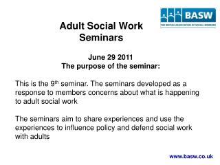 Adult Social Work  Seminars