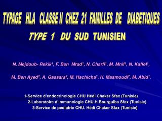 N. Mejdoub- Rekik 1 , F. Ben  Mrad 1 , N. Charfi 1 , M. Mnif 1 , N. Kaffel 1 ,