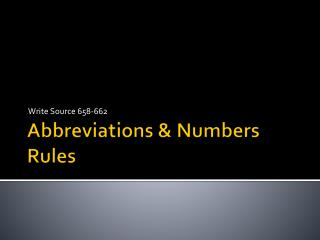 Abbreviations &  Numbers Rules