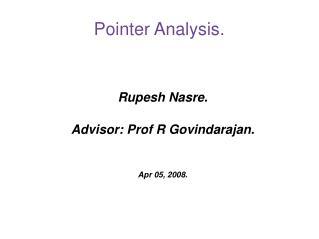Pointer Analysis.