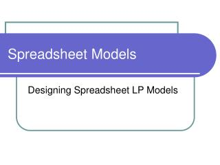 Spreadsheet Models