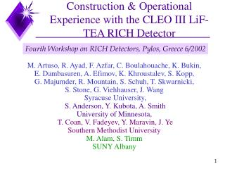 Construction & Operational Experience with the CLEO III LiF-TEA RICH Detector