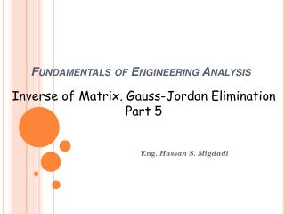 Fundamentals of Engineering Analysis
