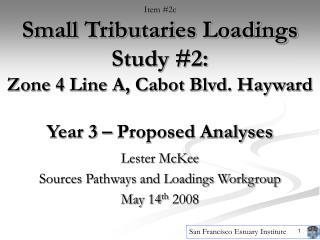 Lester McKee Sources Pathways and Loadings Workgroup May 14 th  2008