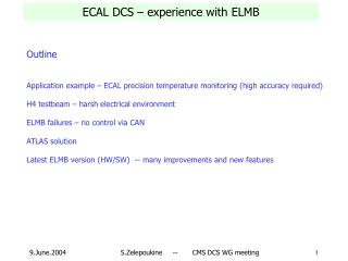 ECAL DCS – experience with ELMB