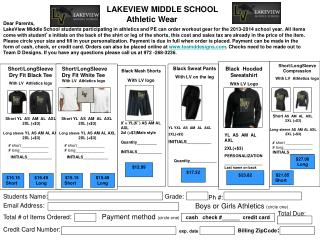 LAKEVIEW MIDDLE SCHOOL  Athletic Wear